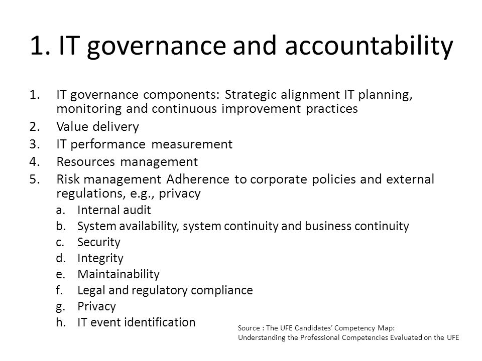 1. IT governance and accountability