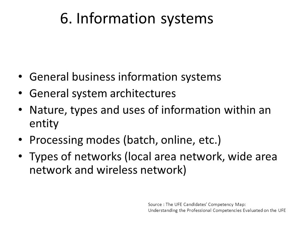 6. Information systems General business information systems