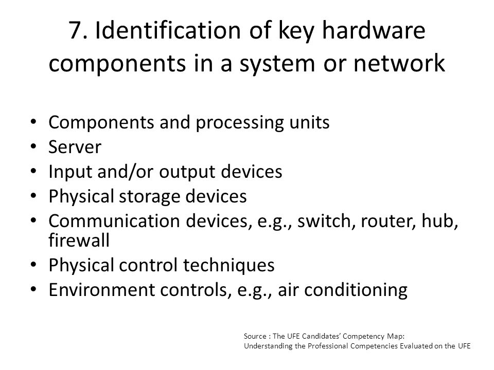 7. Identification of key hardware components in a system or network