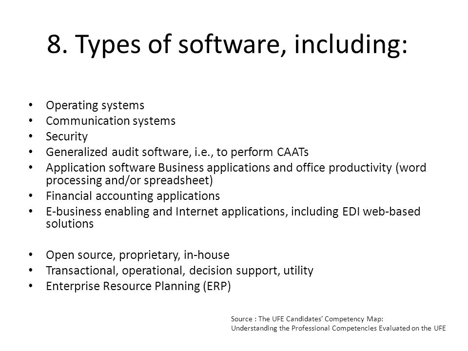 8. Types of software, including: