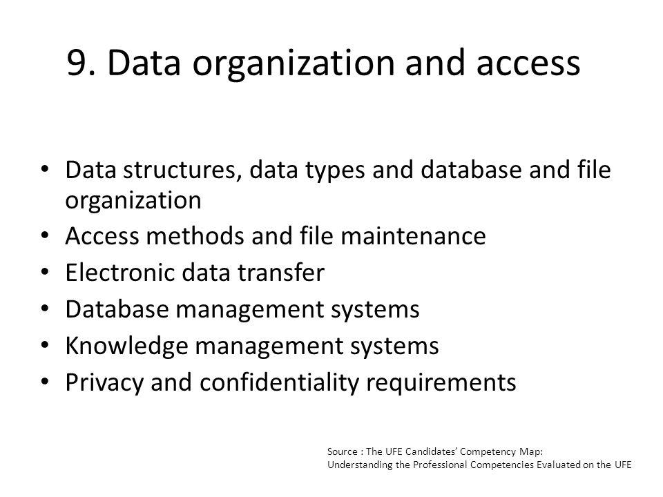 9. Data organization and access