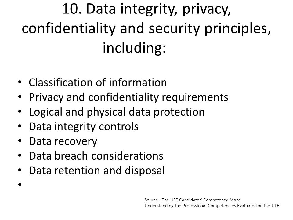 10. Data integrity, privacy, confidentiality and security principles, including:
