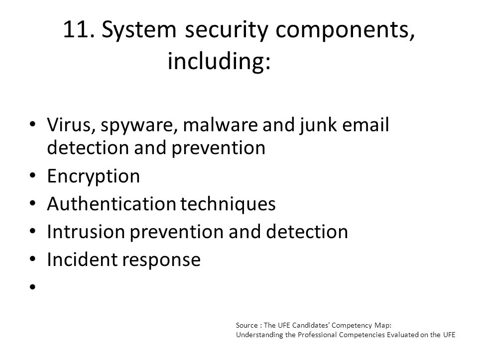 11. System security components, including: