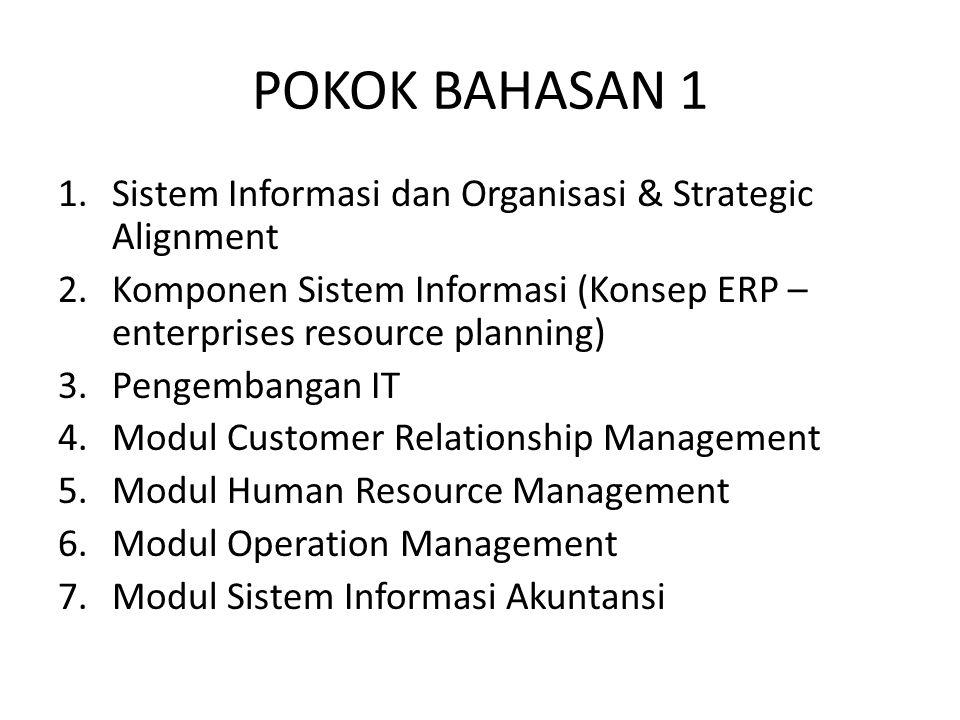 POKOK BAHASAN 1 Sistem Informasi dan Organisasi & Strategic Alignment