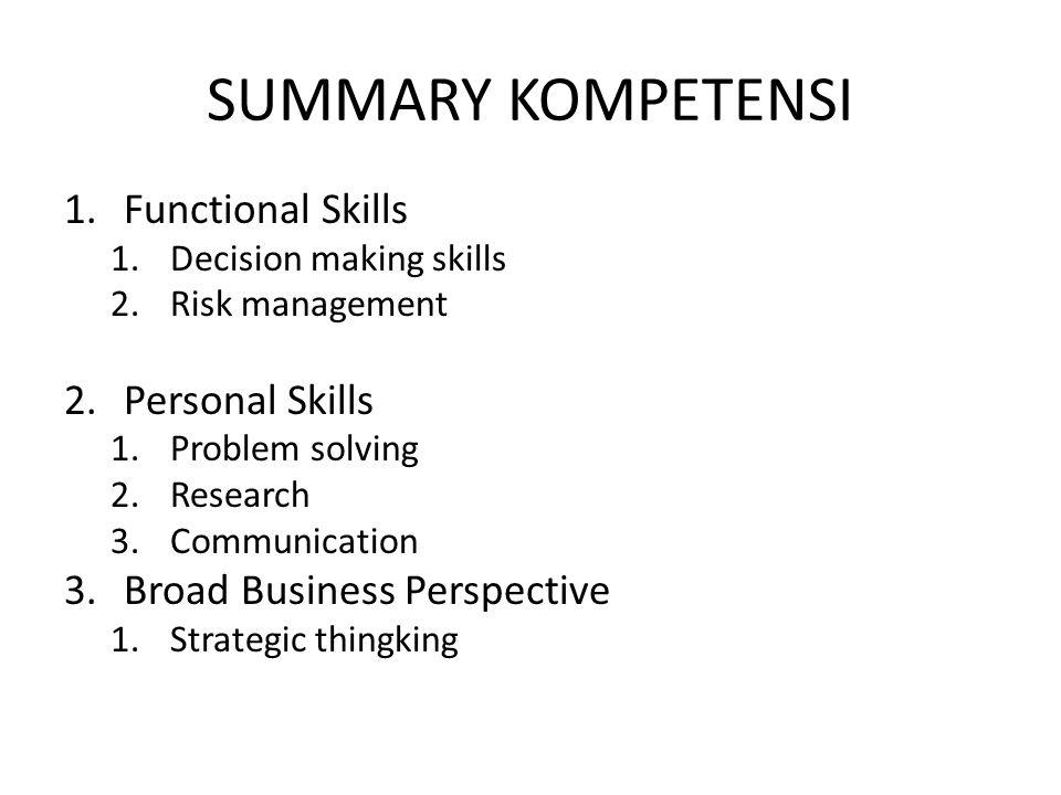 SUMMARY KOMPETENSI Functional Skills Personal Skills