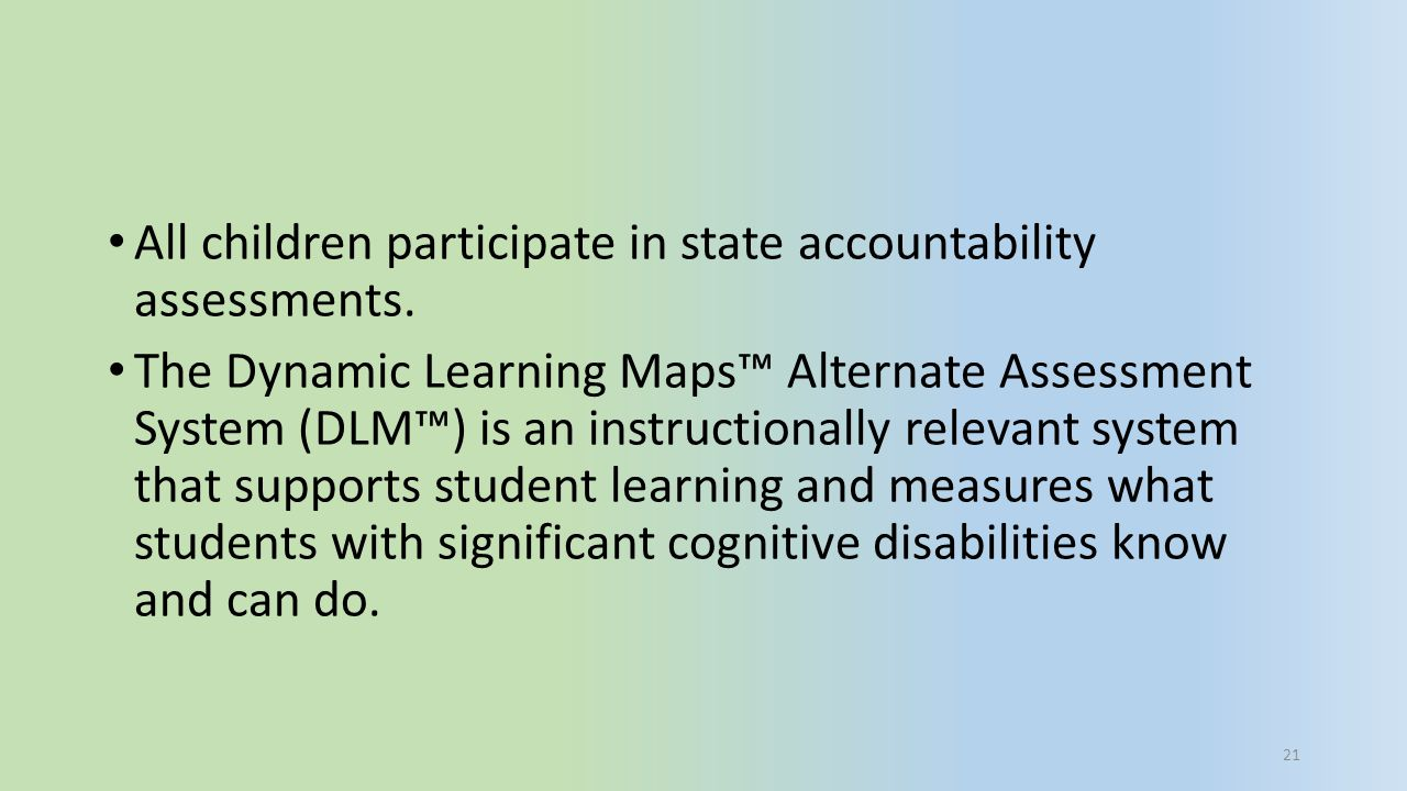 All children participate in state accountability assessments.