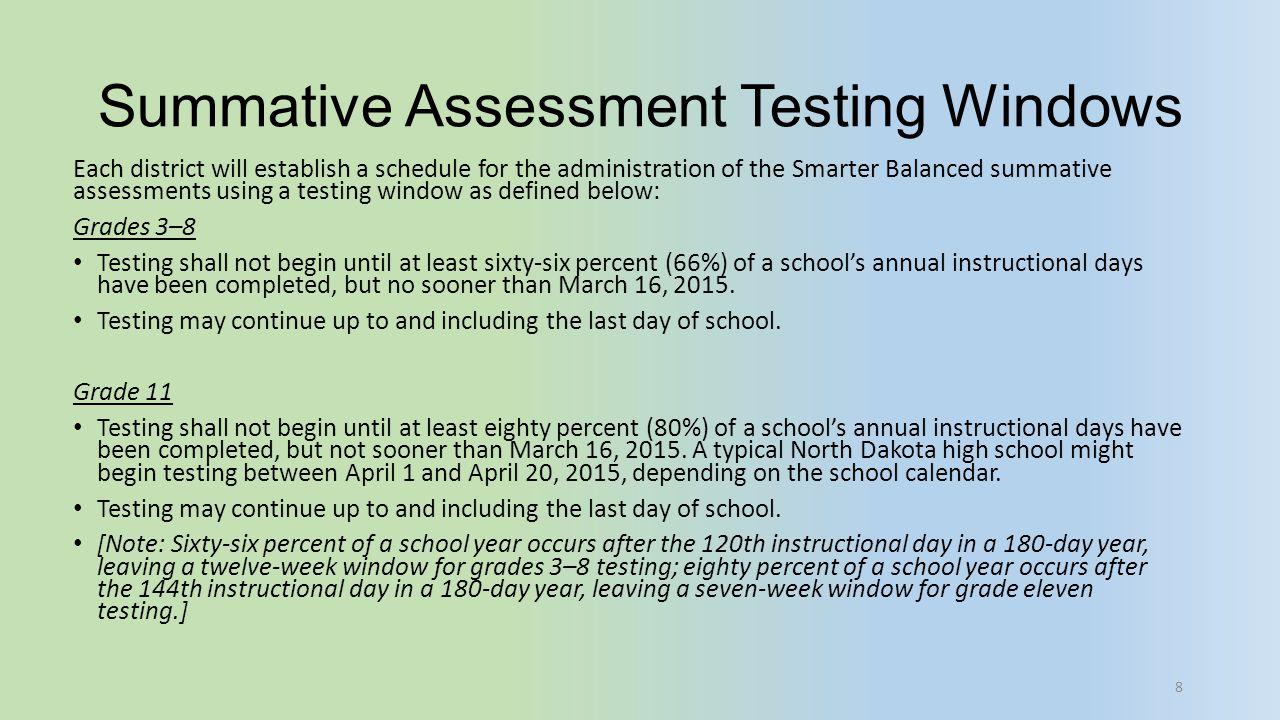 Summative Assessment Testing Windows