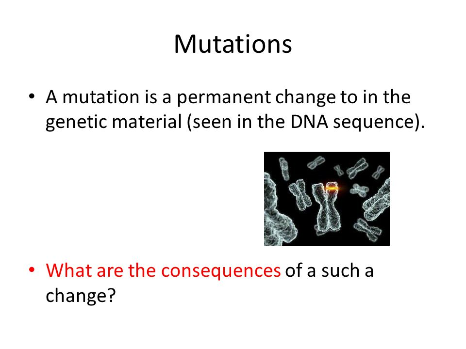 Mutations A mutation is a permanent change to in the genetic material (seen in the DNA sequence). What are the consequences of a such a change