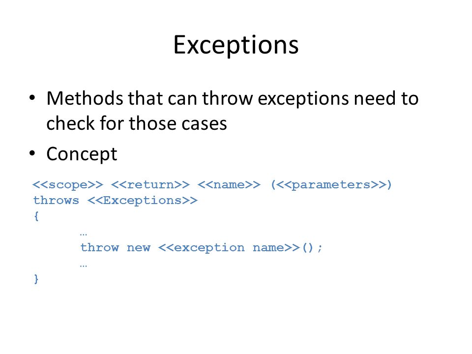 Exceptions Methods that can throw exceptions need to check for those cases. Concept. <<scope>> <<return>> <<name>> (<<parameters>>)