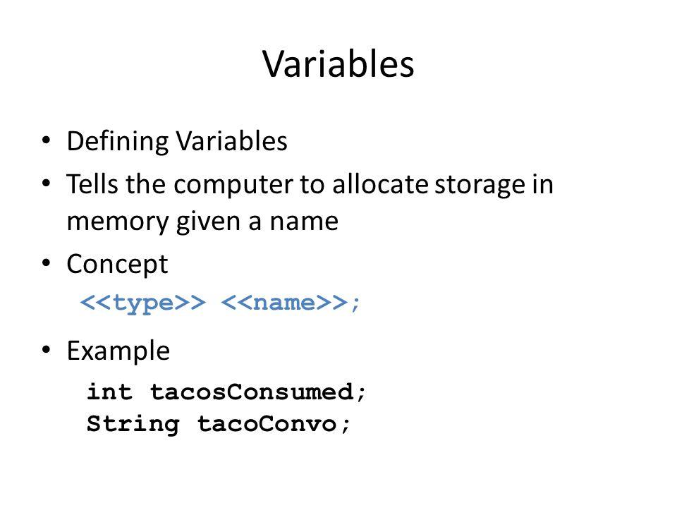 Variables Defining Variables