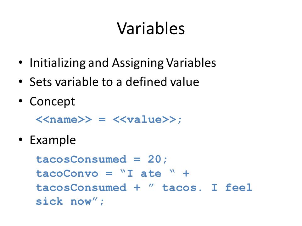 Variables Initializing and Assigning Variables