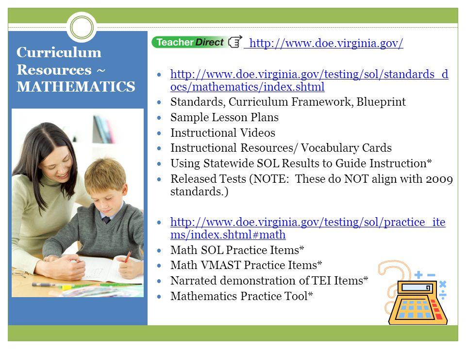 Curriculum Resources ~ MATHEMATICS