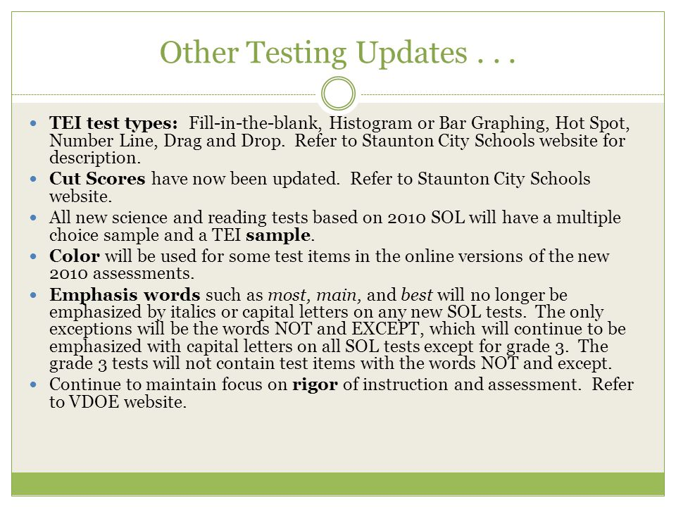 Other Testing Updates . . .