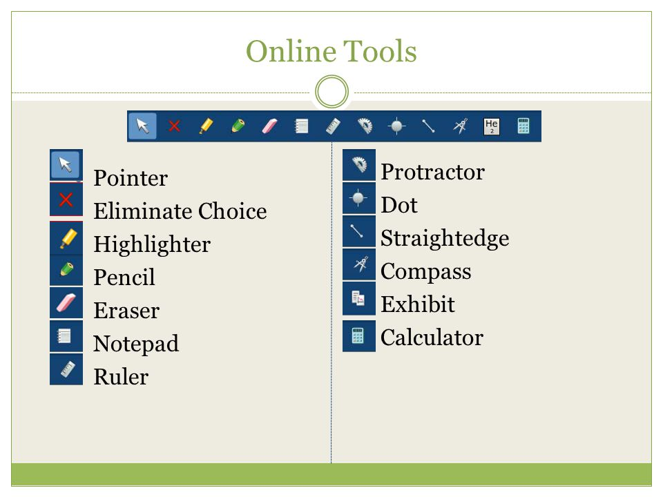 Online Tools Protractor Dot Pointer Straightedge Eliminate Choice