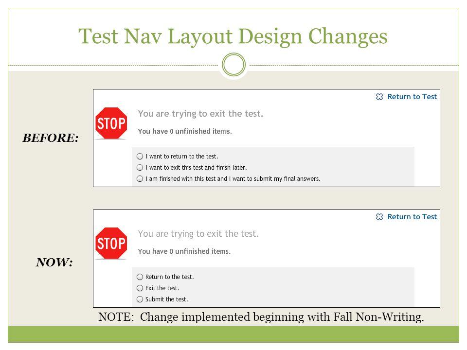 Test Nav Layout Design Changes