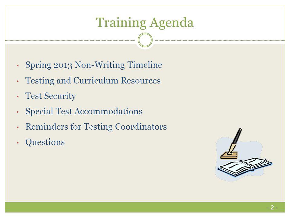 Training Agenda Spring 2013 Non-Writing Timeline
