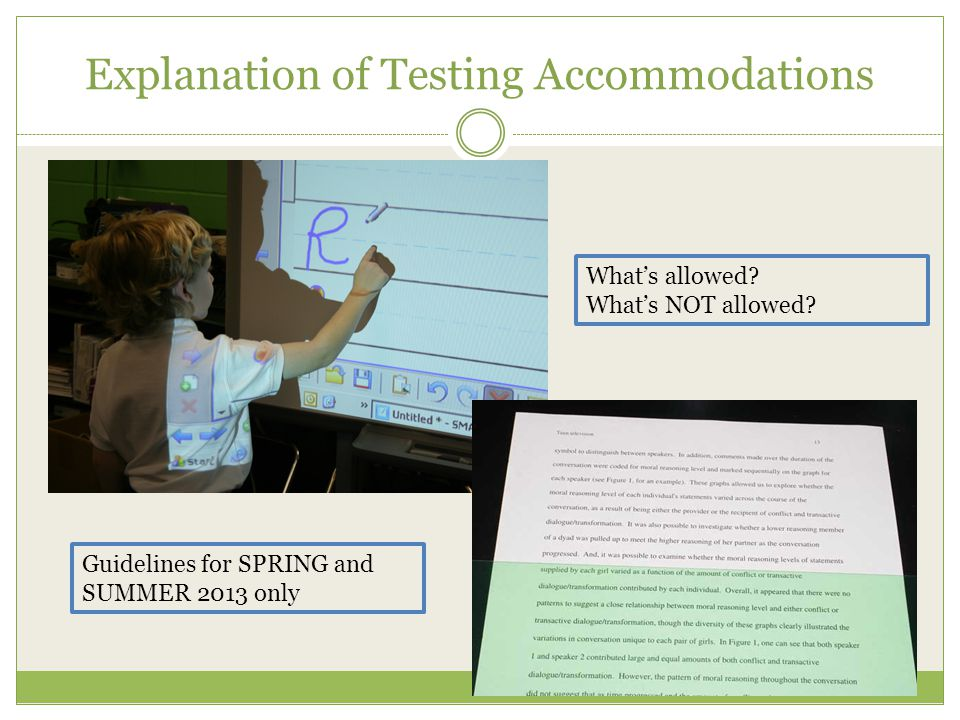 Explanation of Testing Accommodations