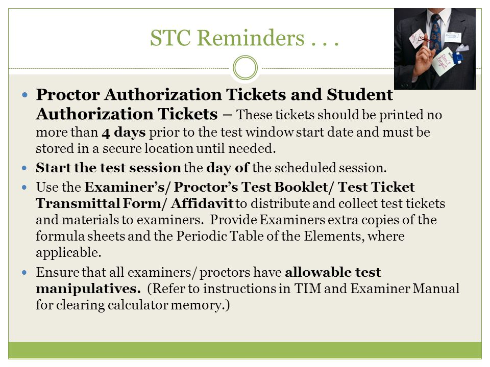 STC Reminders . . .