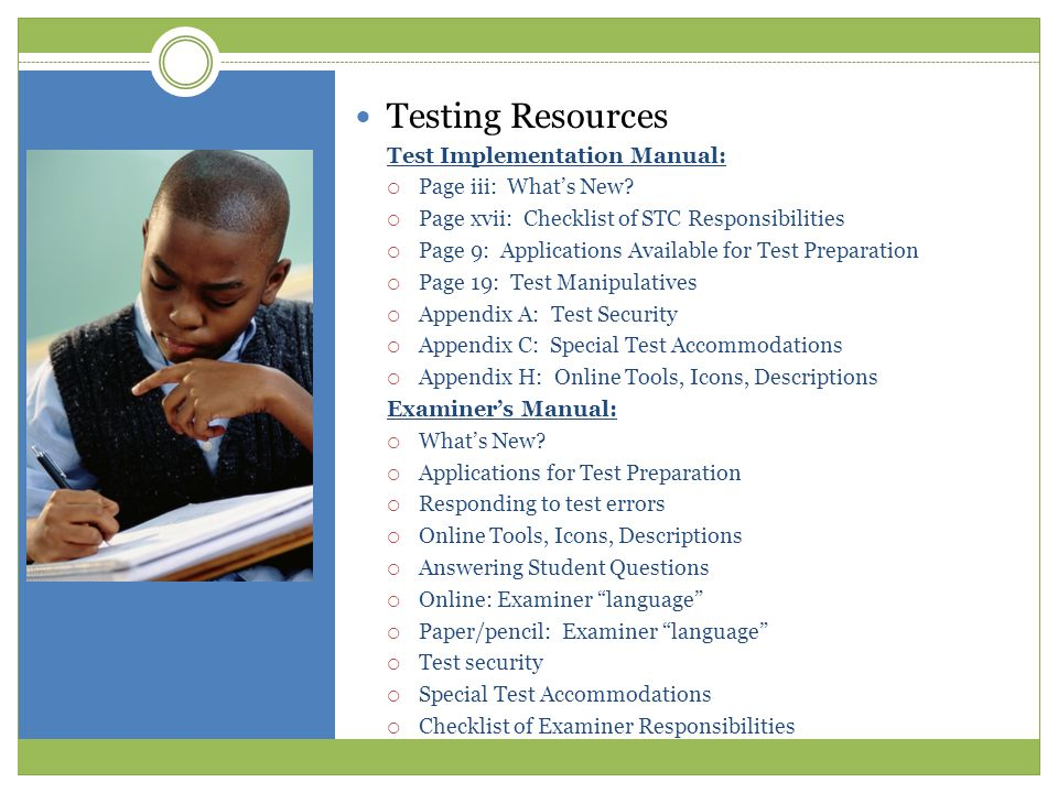 Testing Resources Test Implementation Manual: Page iii: What's New