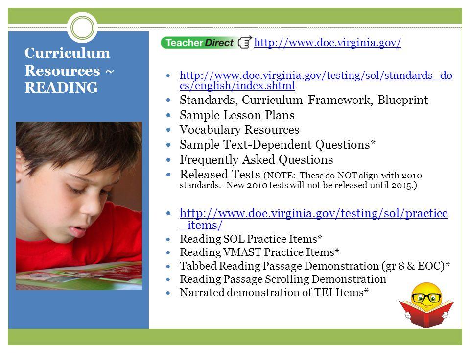 Curriculum Resources ~ READING