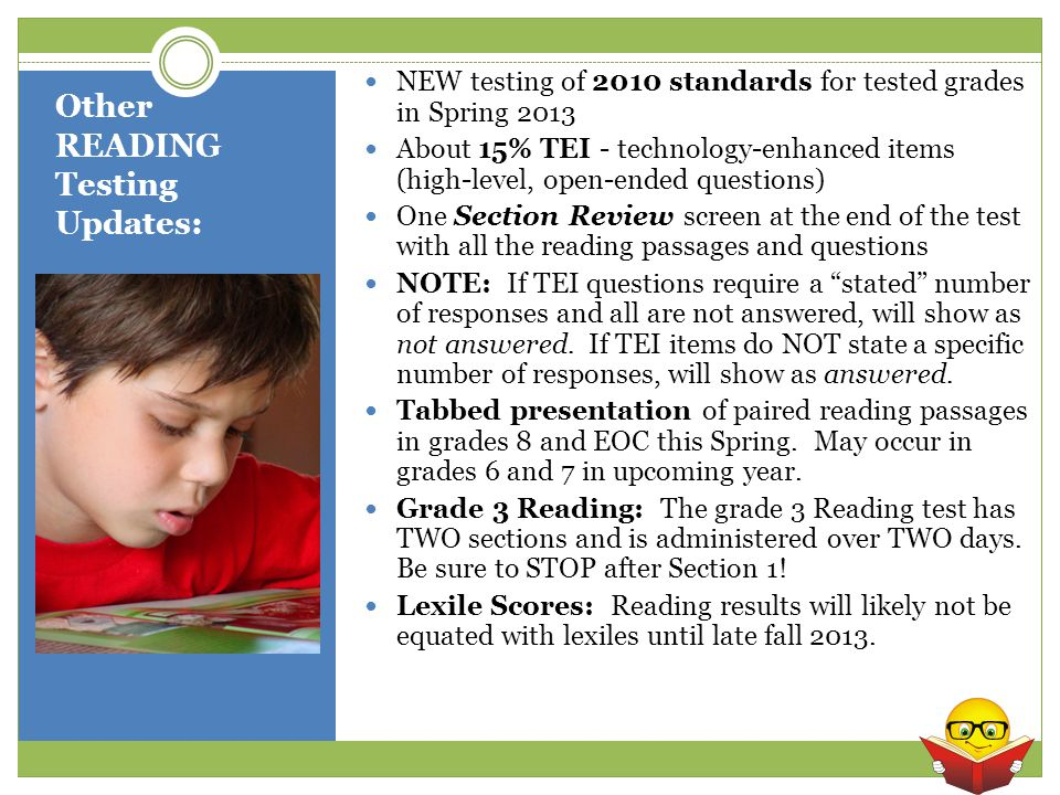 Other READING Testing Updates: