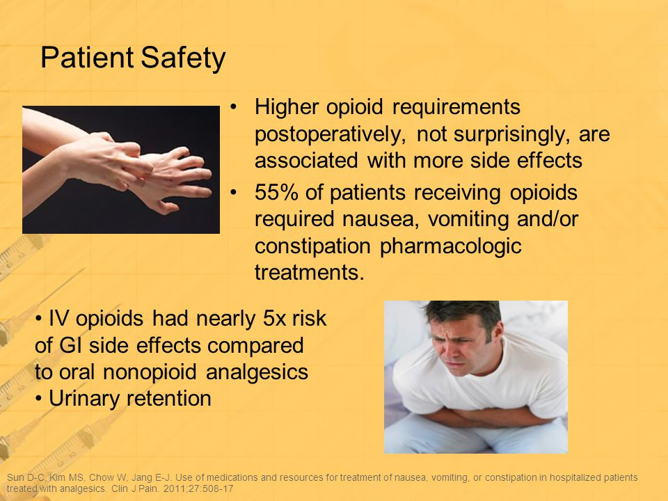 Patient Safety Higher opioid requirements postoperatively, not surprisingly, are associated with more side effects.