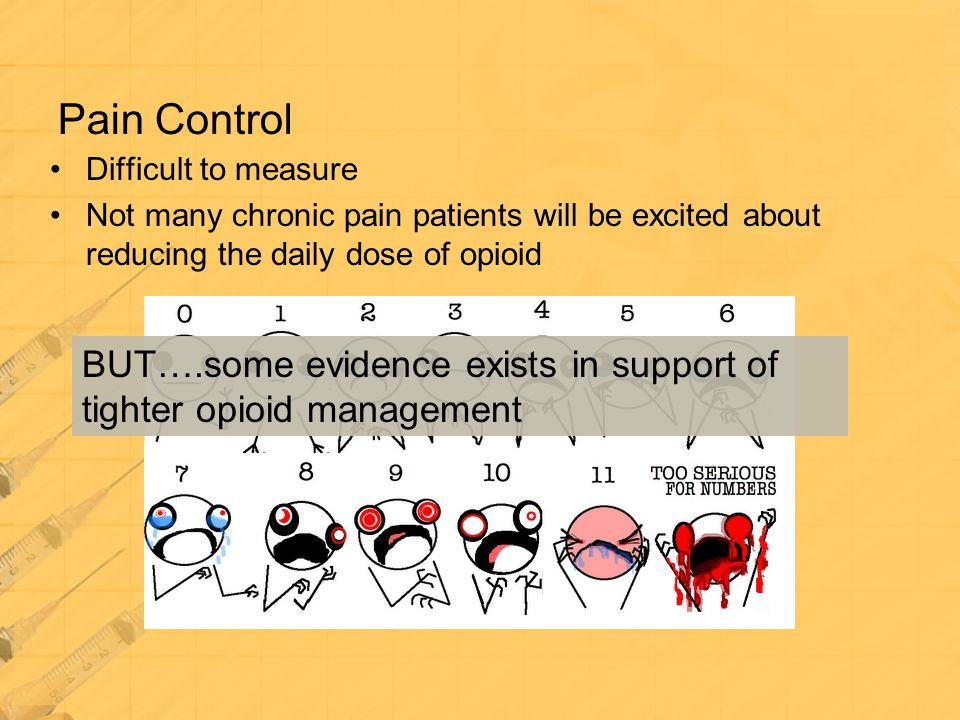 Pain Control Difficult to measure. Not many chronic pain patients will be excited about reducing the daily dose of opioid.