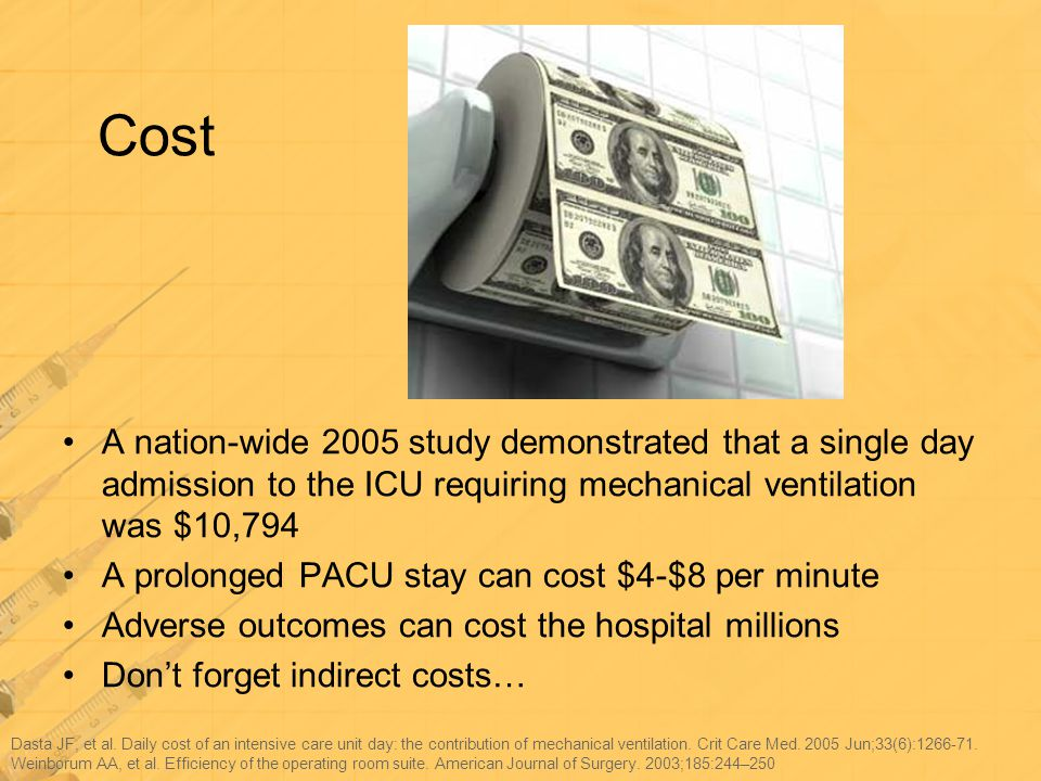Cost A nation-wide 2005 study demonstrated that a single day admission to the ICU requiring mechanical ventilation was $10,794.