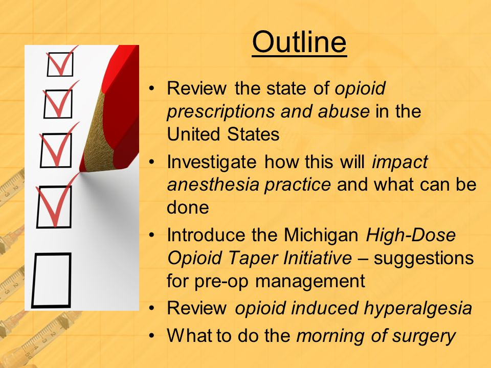 Outline Review the state of opioid prescriptions and abuse in the United States.