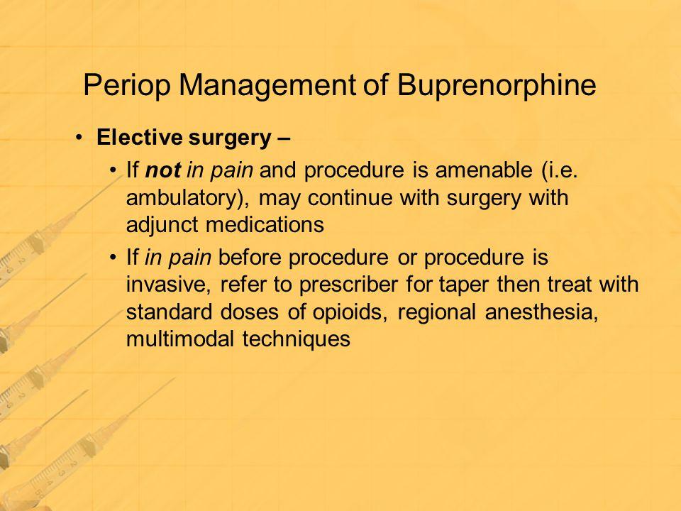 Periop Management of Buprenorphine