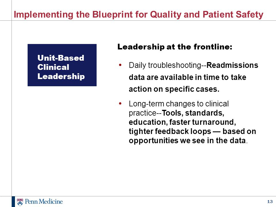 Implementing the Blueprint for Quality and Patient Safety