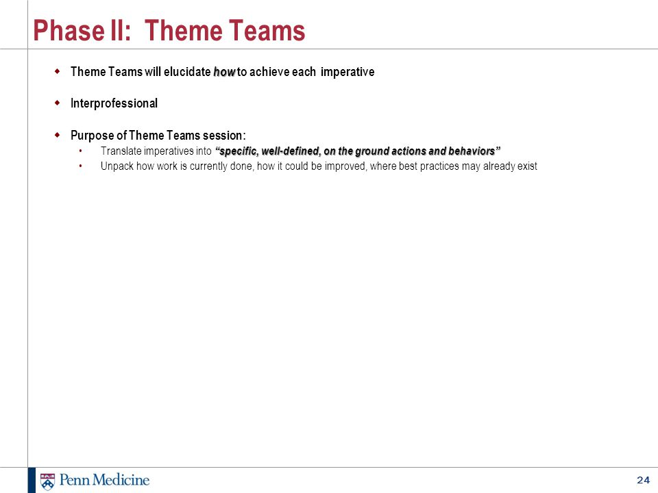 Phase II: Theme Teams Theme Teams will elucidate how to achieve each imperative. Interprofessional.