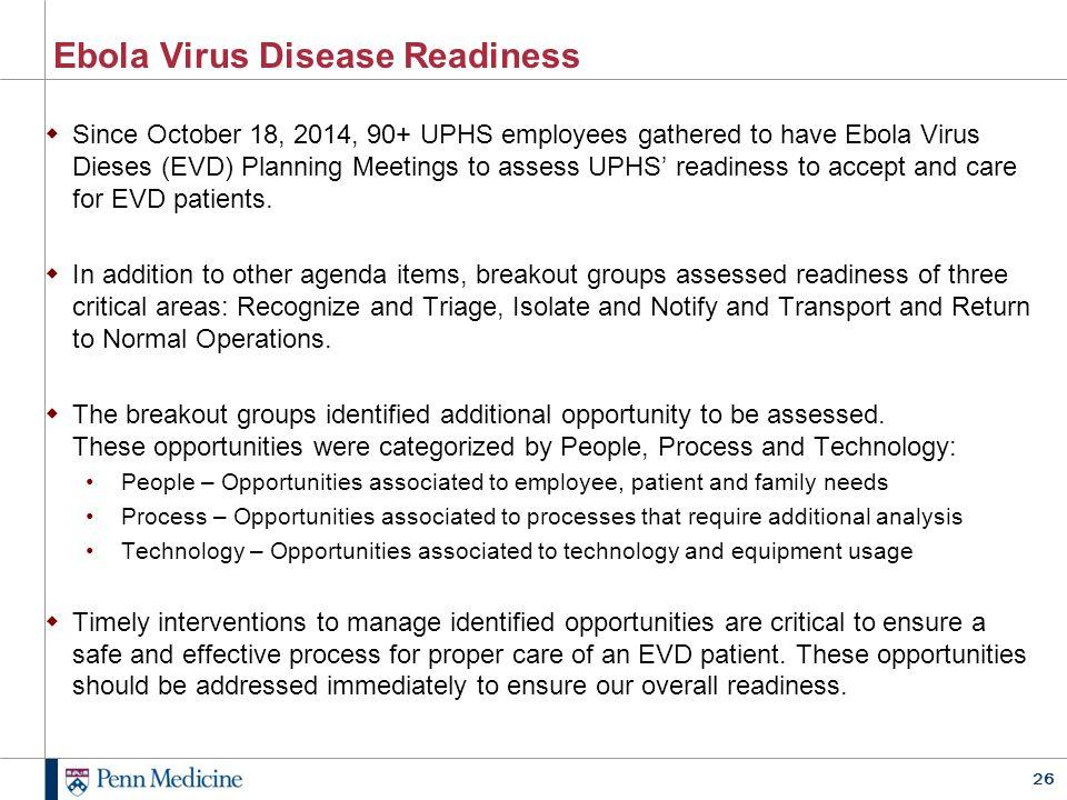 Ebola Virus Disease Readiness