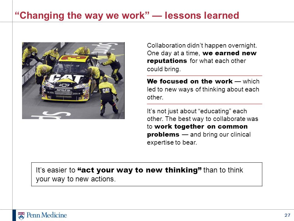 Changing the way we work — lessons learned