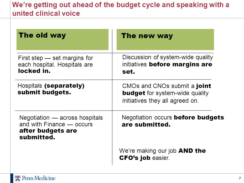 We're getting out ahead of the budget cycle and speaking with a united clinical voice