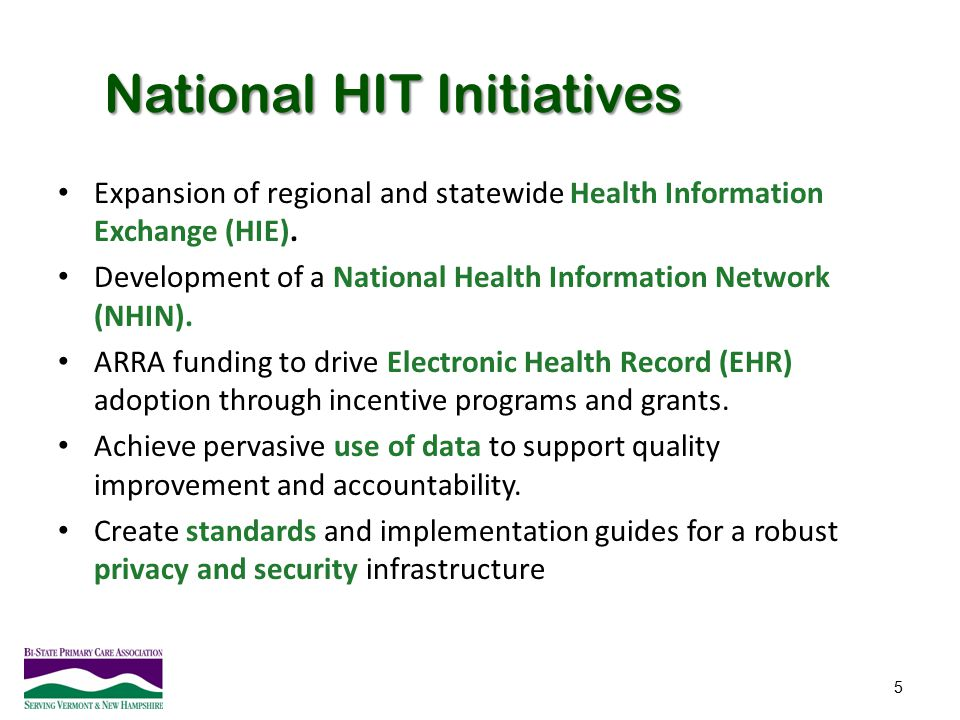 National HIT Initiatives