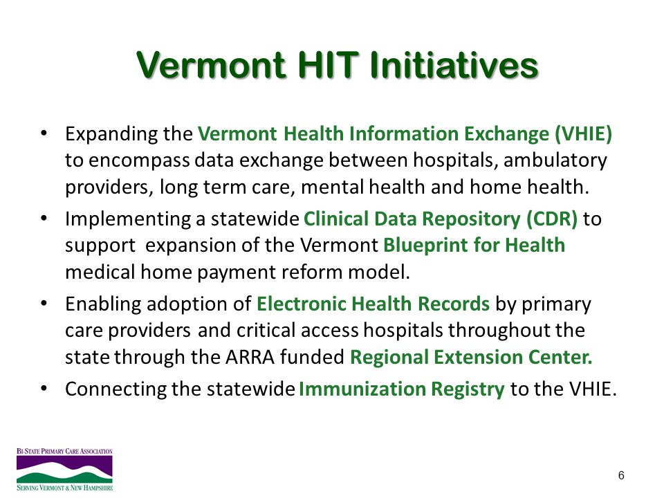 Vermont HIT Initiatives