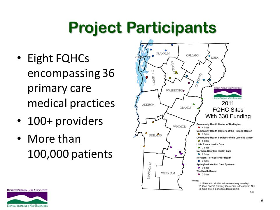 Project Participants Eight FQHCs encompassing 36 primary care medical practices.