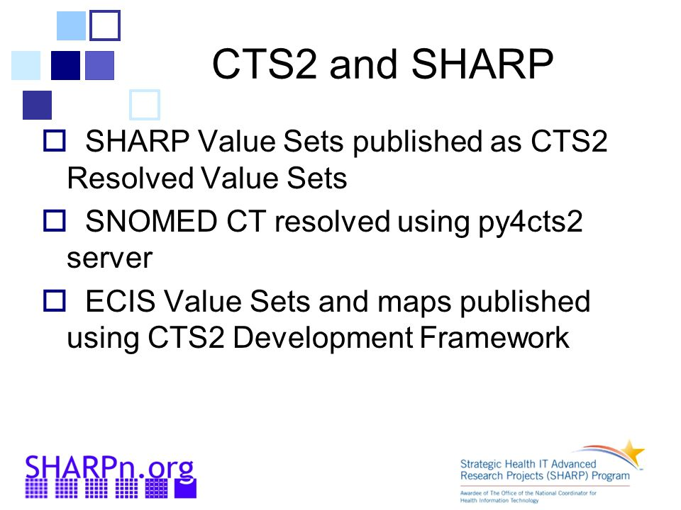 CTS2 and SHARP SHARP Value Sets published as CTS2 Resolved Value Sets
