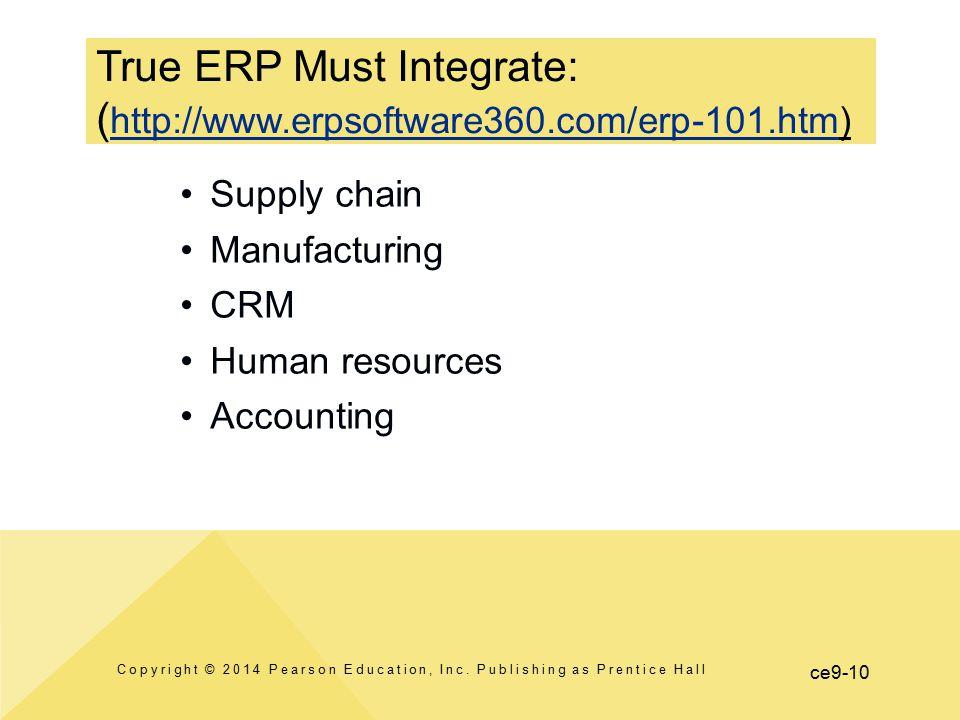 True ERP Must Integrate: (http://www.erpsoftware360.com/erp-101.htm)
