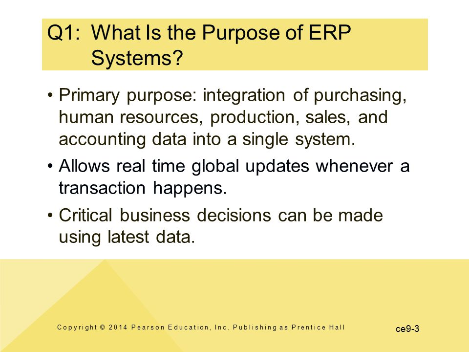 Q1: What Is the Purpose of ERP Systems