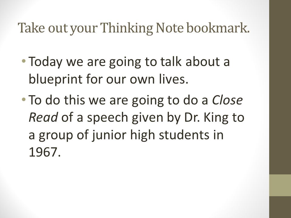 Take out your Thinking Note bookmark.