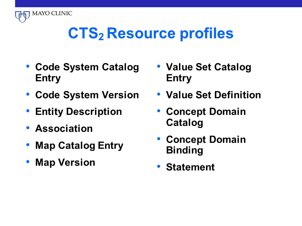 CTS2 Resource profiles Code System Catalog Entry Code System Version