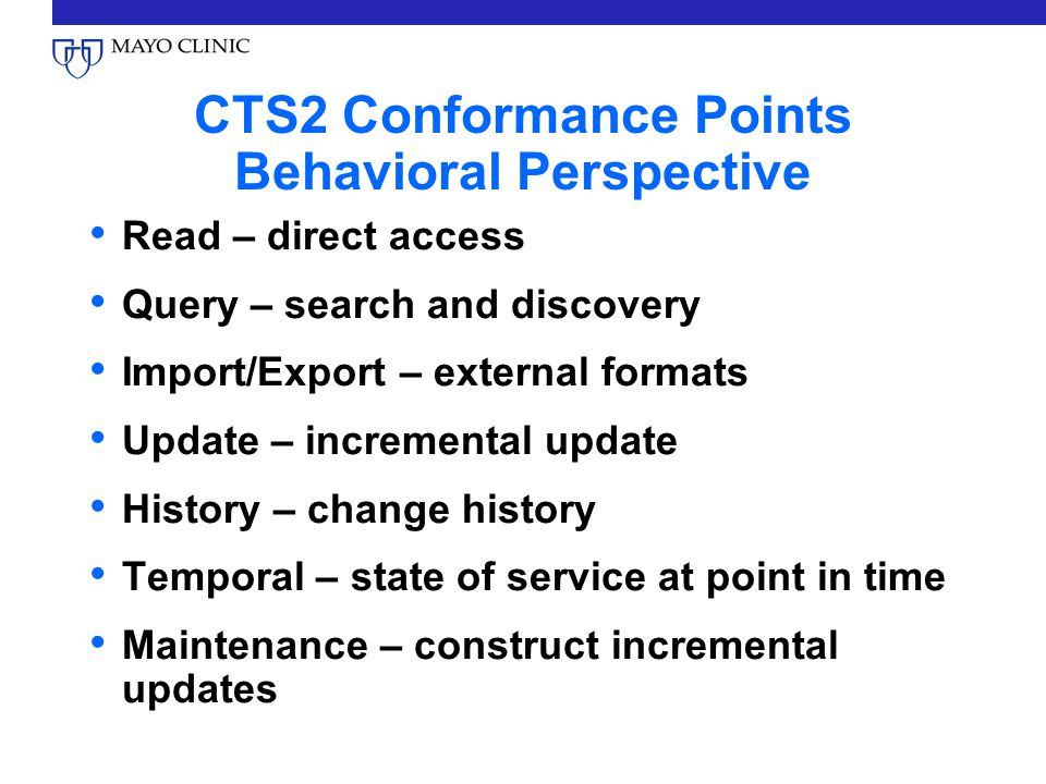 CTS2 Conformance Points Behavioral Perspective