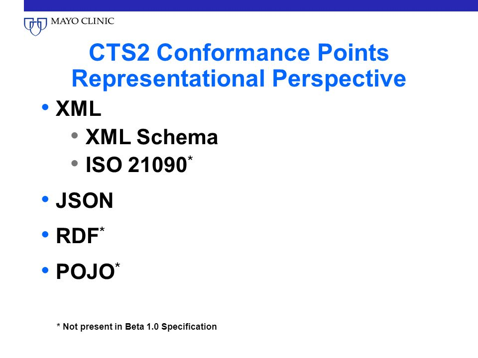 CTS2 Conformance Points Representational Perspective