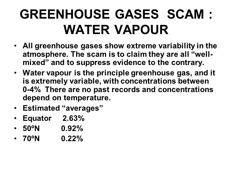 GREENHOUSE GASES SCAM : WATER VAPOUR