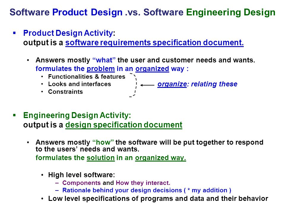 Software Product Design .vs. Software Engineering Design