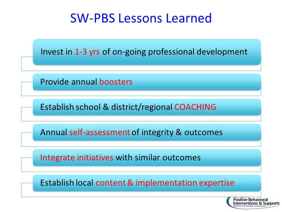 SW-PBS Lessons Learned