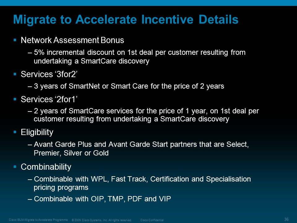 Migrate to Accelerate Incentive Details