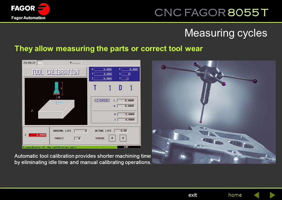 Measuring cycles They allow measuring the parts or correct tool wear